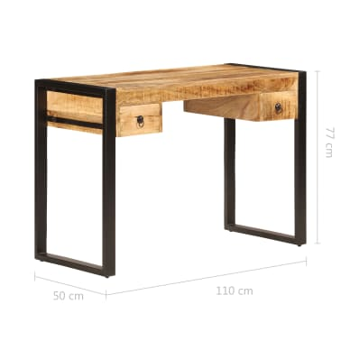vidaXL Bureau avec 2 tiroirs 110x50x77 cm Bois solide de manguier[9/14]