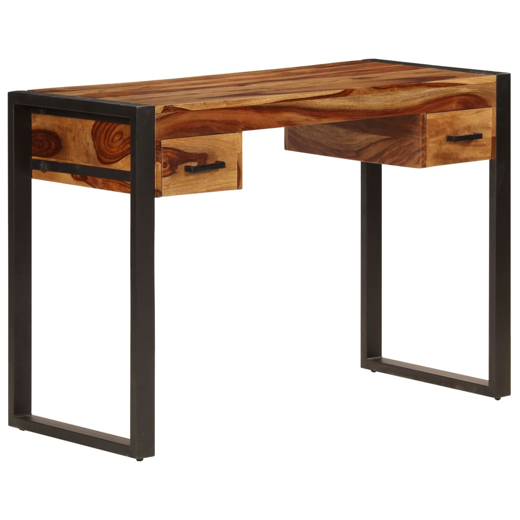 vidaXL Sheeshamholz Massiv Schreibtisch 2 Schubladen Bürotisch Computertisch