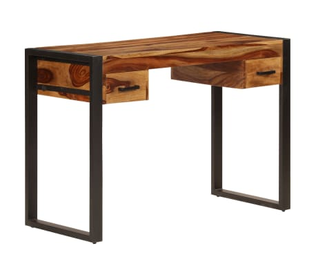 vidaXL Desk with 2 Drawers 110x50x77 cm Solid Sheesham Wood