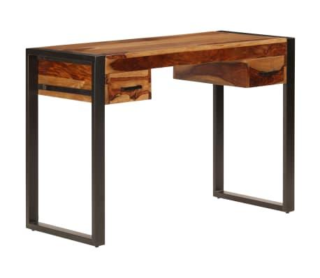 vidaXL Massivholz Sheesham Schreibtisch mit Schubladen Computertisch Bürotisch