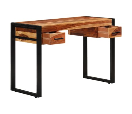 vidaXL Desk with 2 Drawers 110x50x77 cm Solid Sheesham Wood[3/13]
