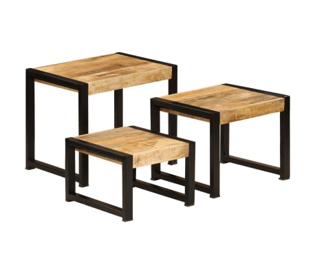 vidaXL Nesting Tables 3 pcs Solid Mango Wood