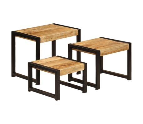 vidaXL Nesting Tables 3 pcs Solid Mango Wood[12/13]