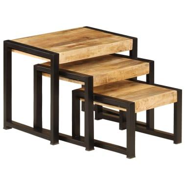 vidaXL Sudedami staliukai, 3 vnt., mango medienos masyvas[3/13]