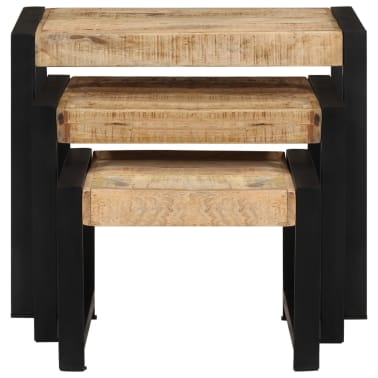 vidaXL Nesting Tables 3 pcs Solid Mango Wood[4/13]