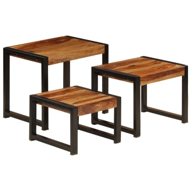 vidaXL Sudedami staliukai, 3 vnt., rausv. dalb. medienos masyvas[1/13]