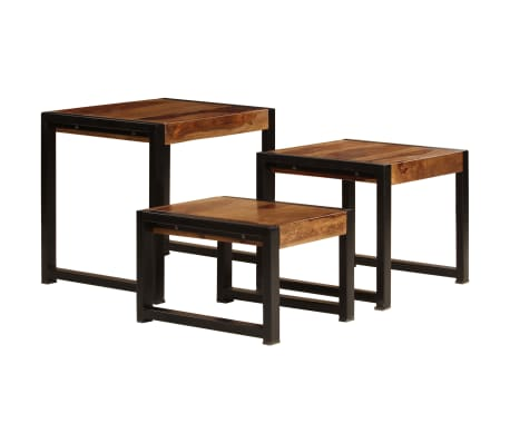 vidaXL Sudedami staliukai, 3 vnt., rausv. dalb. medienos masyvas[2/13]