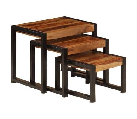 vidaXL Sudedami staliukai, 3 vnt., rausv. dalb. medienos masyvas[3/13]