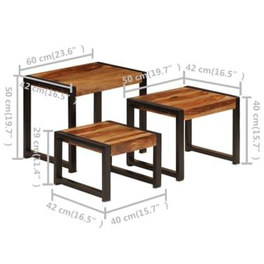 vidaXL Sudedami staliukai, 3 vnt., rausv. dalb. medienos masyvas[11/13]