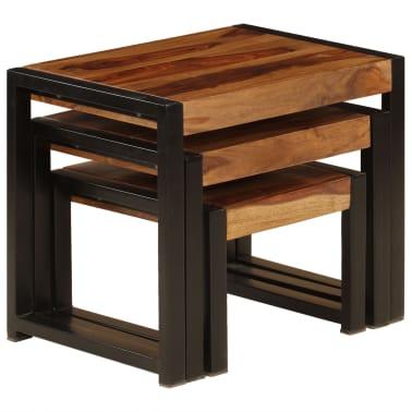 vidaXL Sudedami staliukai, 3 vnt., rausv. dalb. medienos masyvas[4/13]