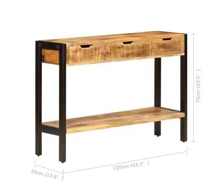"vidaXL Sideboard with 3 Drawers 43.3""x13.8""x29.5"" Solid Mango Wood[8/12]"