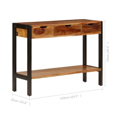 vidaXL Sideboard with 3 Drawers 110x35x75 cm Solid Sheesham Wood[8/12]