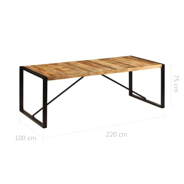 "vidaXL Dining Table 86.6""x39.4""x29.5"" Solid Mango Wood[6/11]"
