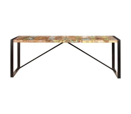 vidaXL Valgomojo stalas, 220x100x75cm, perdirbtos medienos masyvas[2/11]