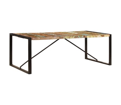 vidaXL Valgomojo stalas, 220x100x75cm, perdirbtos medienos masyvas[11/11]