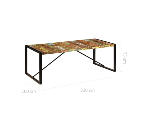 vidaXL Valgomojo stalas, 220x100x75cm, perdirbtos medienos masyvas[6/11]