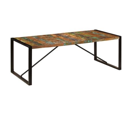 vidaXL Valgomojo stalas, 220x100x75cm, perdirbtos medienos masyvas[8/11]