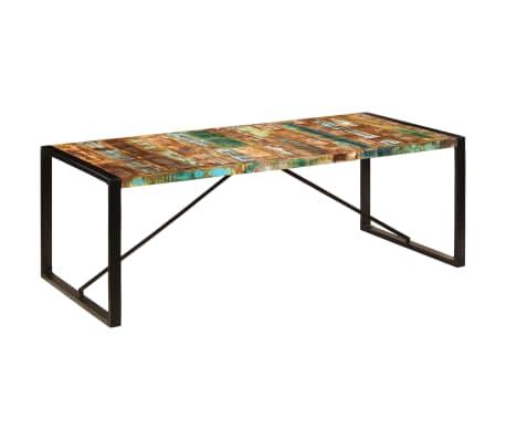vidaXL Valgomojo stalas, 220x100x75cm, perdirbtos medienos masyvas[9/11]