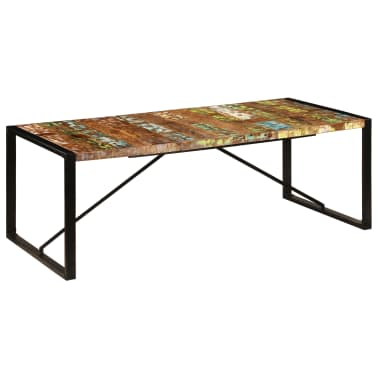 vidaXL Valgomojo stalas, 220x100x75cm, perdirbtos medienos masyvas[7/11]