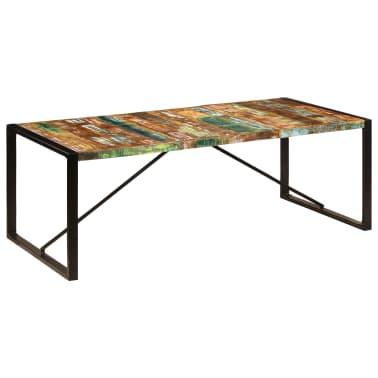 vidaXL Valgomojo stalas, 220x100x75cm, perdirbtos medienos masyvas[10/11]