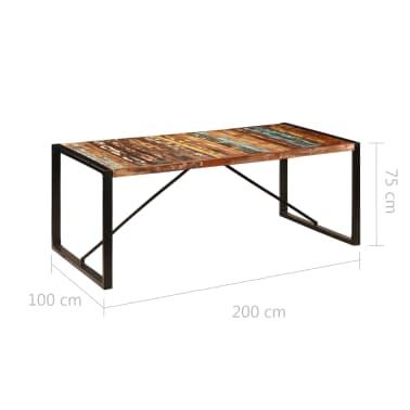 vidaXL Jedilna miza 200x100x75 cm trden predelani les[7/12]
