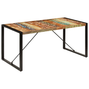vidaXL Valgomojo stalas, 160x80x75cm, perdirbtos medienos masyvas[13/14]