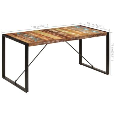 vidaXL Valgomojo stalas, 160x80x75cm, perdirbtos medienos masyvas[8/14]