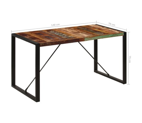vidaXL Dining Table 140x70x75 cm Solid Reclaimed Wood[8/13]