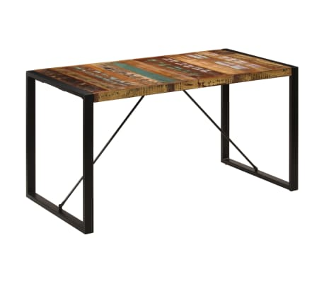 vidaXL Dining Table 140x70x75 cm Solid Reclaimed Wood[9/13]