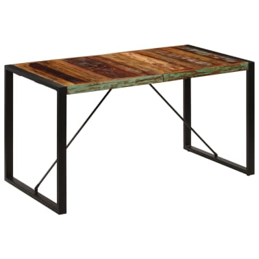vidaXL Dining Table 140x70x75 cm Solid Reclaimed Wood[12/13]