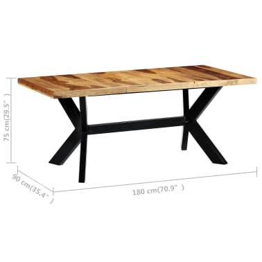 "vidaXL Dining Table 70.9""x35.4""x29.5"" Solid Sheesham Wood[5/10]"