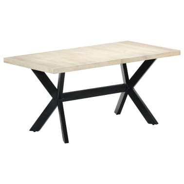 "vidaXL Dining Table White 63""x31.5""x29.5"" Solid Mango Wood[8/11]"