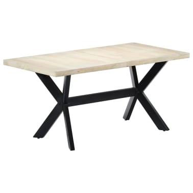 "vidaXL Dining Table White 63""x31.5""x29.5"" Solid Mango Wood[9/11]"