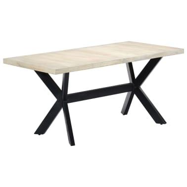"vidaXL Dining Table White 63""x31.5""x29.5"" Solid Mango Wood[10/11]"