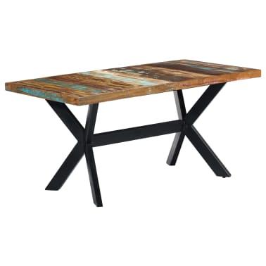 vidaXL Valgomojo stalas, 160x80x75cm, perdirbtos medienos masyvas[11/11]