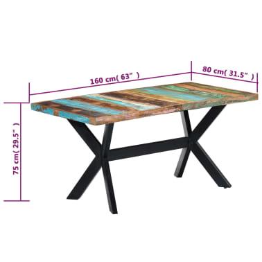 vidaXL Valgomojo stalas, 160x80x75cm, perdirbtos medienos masyvas[7/11]