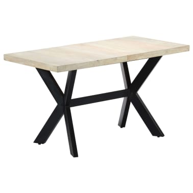 "vidaXL Dining Table 55.1""x27.6""x29.5"" Solid Bleached Mango Wood[1/11]"