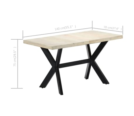 "vidaXL Dining Table 55.1""x27.6""x29.5"" Solid Bleached Mango Wood[7/11]"
