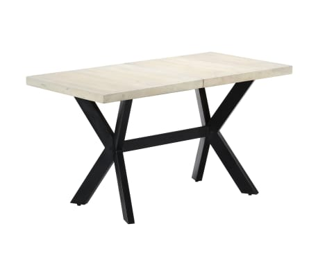 "vidaXL Dining Table 55.1""x27.6""x29.5"" Solid Bleached Mango Wood[10/11]"