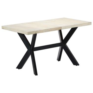 "vidaXL Dining Table 55.1""x27.6""x29.5"" Solid Bleached Mango Wood[9/11]"