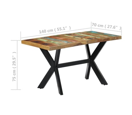 vidaXL Dining Table 140x70x75 cm Solid Reclaimed Wood[7/11]