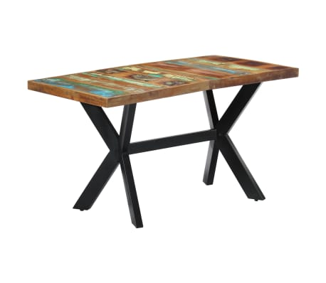 vidaXL Dining Table 140x70x75 cm Solid Reclaimed Wood[8/11]
