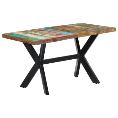 vidaXL Dining Table 140x70x75 cm Solid Reclaimed Wood[11/11]
