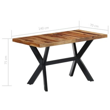 "vidaXL Dining Table 55.1""x27.6""x29.5"" Solid Sheesham Wood[7/11]"