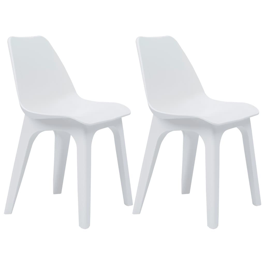 vidaXL Krzesła ogrodowe z plastiku, 2 szt., białe