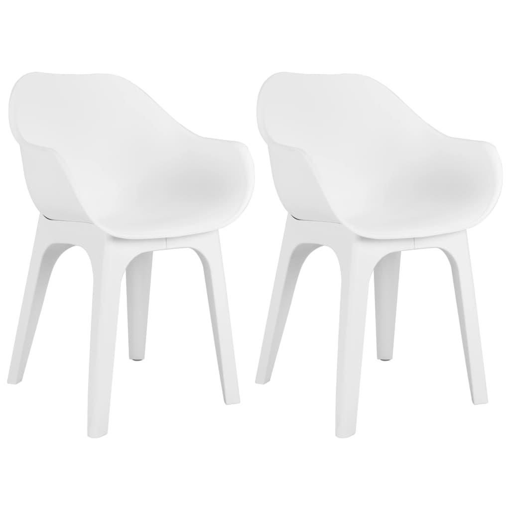 vidaXL Krzesła ogrodowe z podłokietnikami, 2 szt., białe, plastik