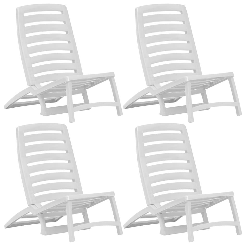 vidaXL Dětské skládací plážové židle 4 ks plastové bílé