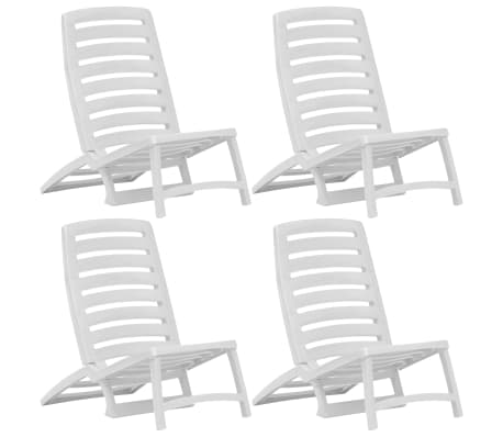 vidaXL Kids' Folding Beach Chair 4 pcs Plastic White