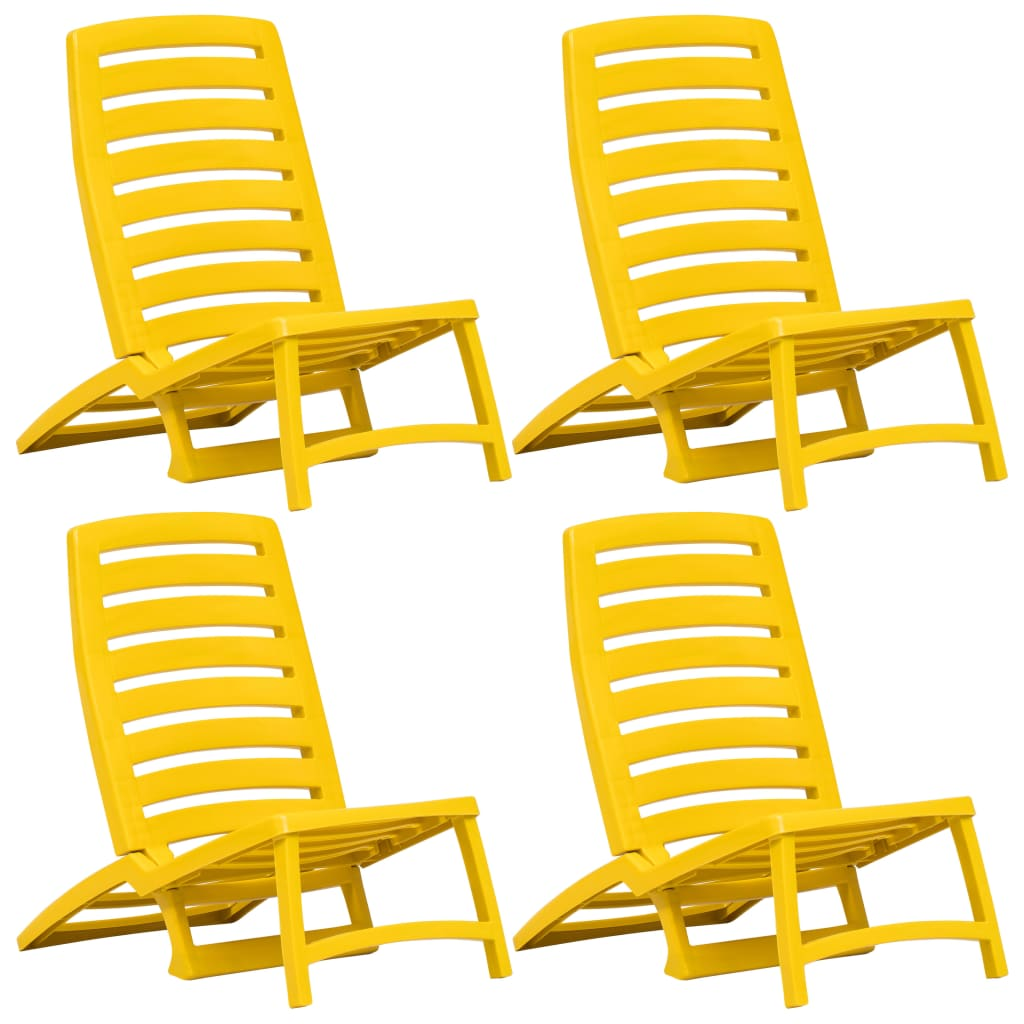 vidaXL Skládací plážové židle 4 ks žluté plastové