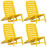 vidaXL Kids' Folding Beach Chair 4 pcs Plastic Yellow